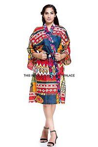 bcb7334130 Image is loading Indian-Ikat-Print-Vintage-Cotton-Bath-Robe-Dressing-
