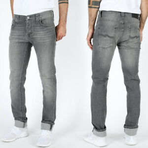 Nudie-senores-slim-fit-Jeans-pantalones-Grim-tim-Cygnet-Grey-gris-Stretch