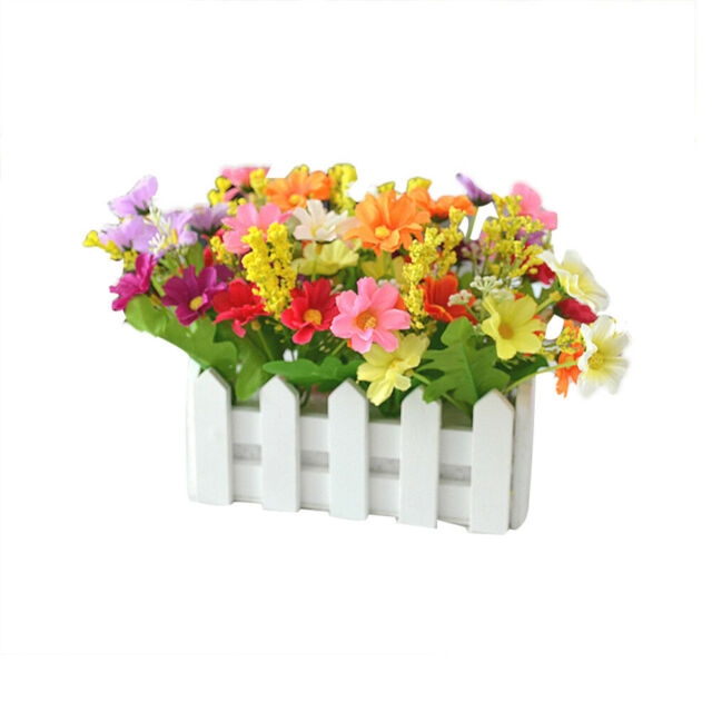 Artificial Flowers W Pot 16 7 Inch Outdoor Uv Resistant Plants Fake Silk Decor For Sale Online Ebay