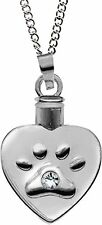 """HEART PAW PRINT Pet Urn Locket Pendant Necklace on 20"""" Chain, by AngelStar 46505"""