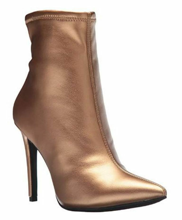Women's Jessica Simpson PELINA Fashion Stiletto Bootie Ankle Boots gold Digger