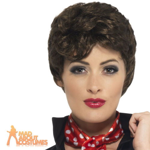 Grease Rizzo Wig 50s Rock n Roll Short Curly Brown Fancy Dress Womens Ladies New