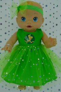 "Play n Wear Doll Clothes To Fit 13"" Baby Alive LIME SEQUIN DRESS~HEADBAND"