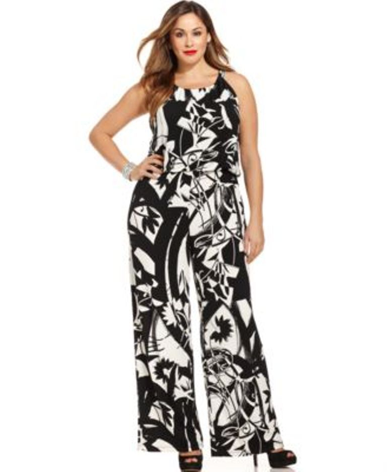 Style co. Wide-Leg Halter Jumpsuit Floral Strokes 1X