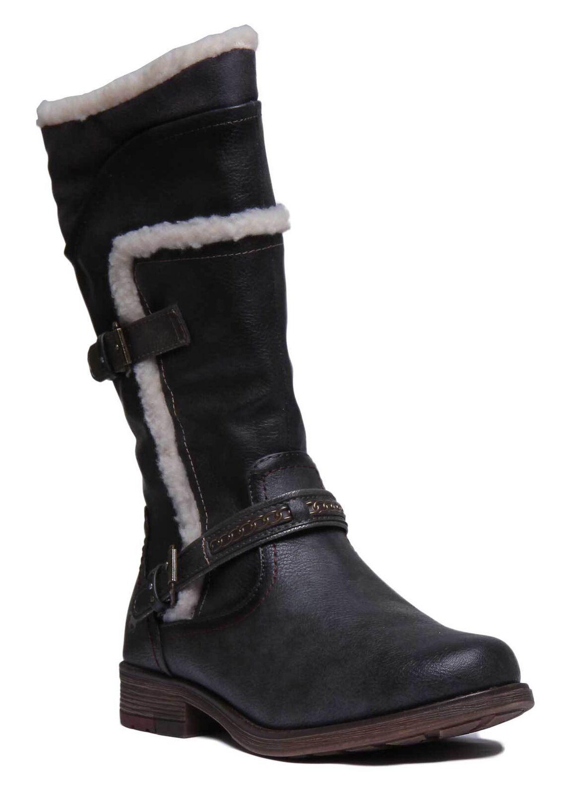 Mustang 1295-605 Mujeres Cuero Sintético Grafito botas Largas tamaño de Reino Unido 3 - 8