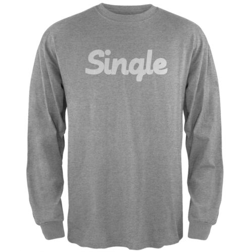 Valentine/'s Day Single Heather Grey Adult Long Sleeve T-Shirt