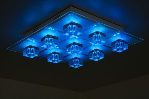 Design Lampe LED Couleur éclairage au plafond avec télécommande lampe verre NEUF