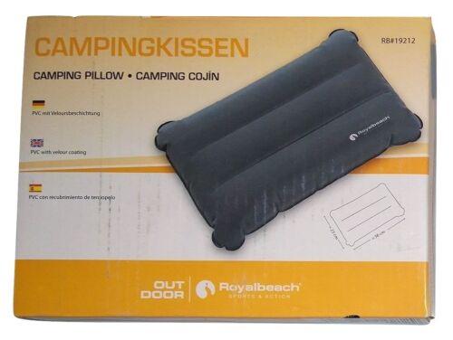 Velours Reisekissen Campingkissen aufblasbar 23 x 38 cm Grau