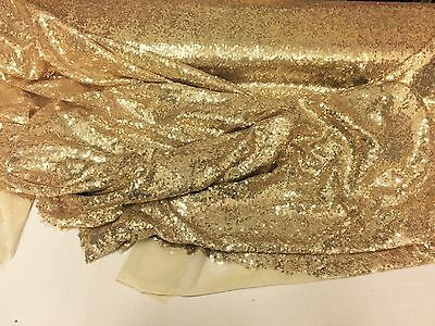 Mermaid Fabric - Gold Mini Sequins Embroidered Mesh Dress Top By The yard.