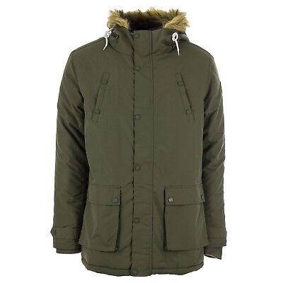 Henleys Men's Informa Faux Fur Hooded Padded Parka Coat Olive