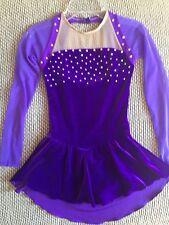 Ice Figure Skating Dance Competition Dress Custom Swarovski Purple 8/10