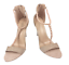 thumbnail 2 - Womens Ladies Beige Faux Suede High Heel T-Bar Party Sandals Shoes Size UK 7 New
