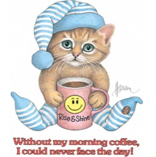 Cat Shirt Sleepy Cat Needs Morning Coffee To Face Day Funny Kitten Shirt