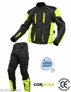Mens Textile Motorcycle Motorbike Hivis Enduro Jacket Trousers Pants Kit Suit
