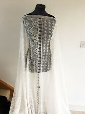 Ivory Cream Unusual Floral/Flower & Lattice Lace Dressmaking Fabric AW/2016