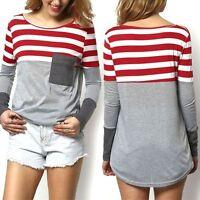 Women Ladies Long Sleeve T-Shirts Stripe Pocket Tops Casual Basic Tee S-XL