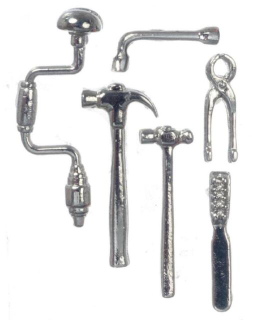 Silver Metal Dollhouse Miniatures Tool Set 6 pc