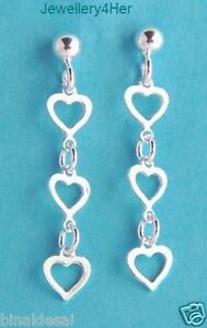 925-Sterling-Silver-Ball-Linked-OPEN-HEART-LONG-DROPPER-EARRINGS-LOVE-Gift-BOX-N