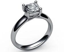 1.01 CT PRINCESS CUT D VVS2 DIAMOND SOLITAIRE ENGAGEMENT RING 14K WHITE GOLD