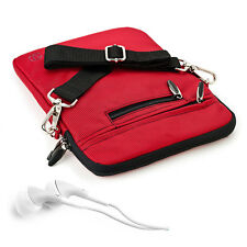10.1 Red Shoulder Strap Bag Pouch Sleeve Case for iPad Pro 9.7 /Air 2 + Earphone