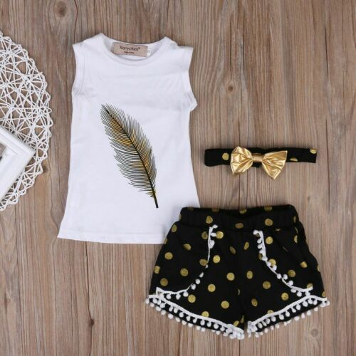 3PCS Toddler Kids Baby Girls T-shirt Tops+Short Pants Outfits Clothes Set 2Y-7Y