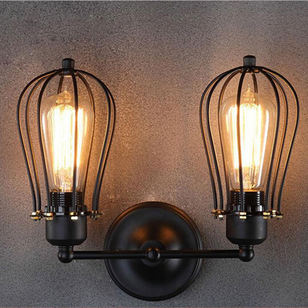 Rustic Industrial Lighting Double Sconce Wall Light Iron: American Countryside Vintage Industrial Loft Metal Rustic