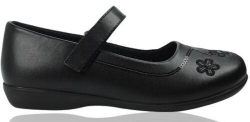 Girls Black School Shoe PU Leather Hook /& Loop Dress Formal Easy On UK Sizes 8-5
