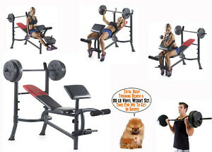 Weight Bench With Weights Set 120 Lb Bar Press Dumbell Set Barbell Home Gym SALE