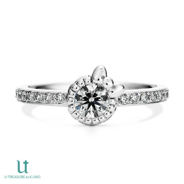 Hello Kitty Diamond Ribbon Motif Engagement Ring Pt 900 JAPAN NEW FS SANRIO  Gift