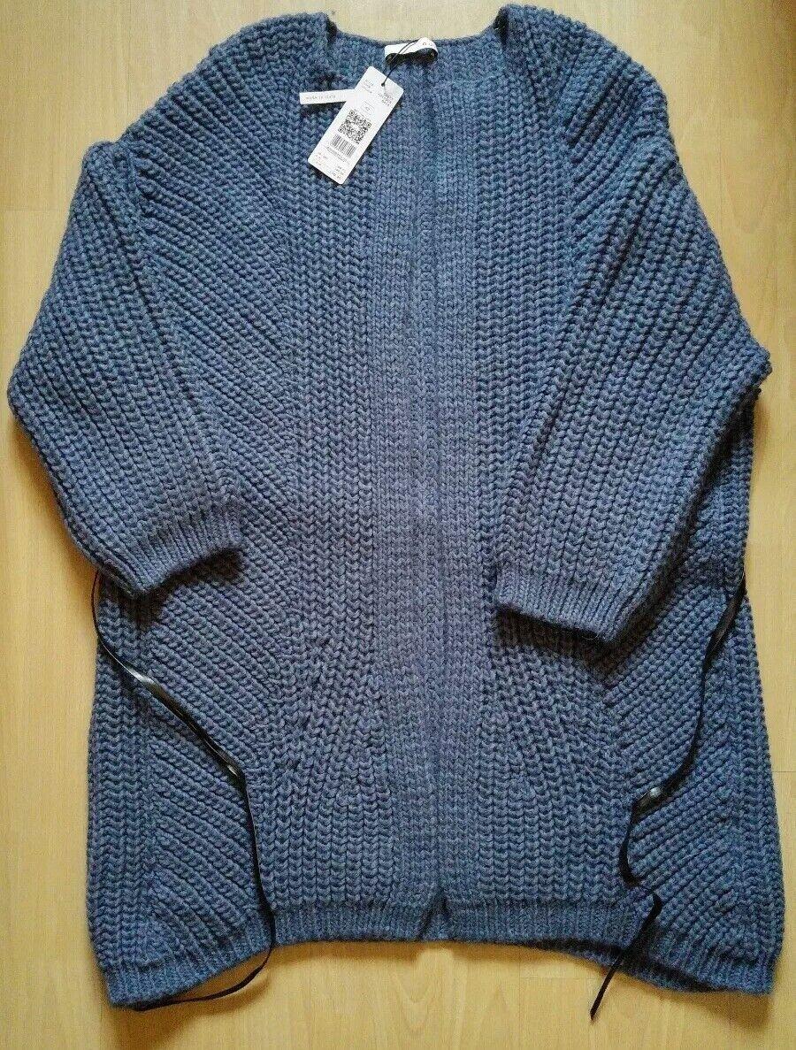 Strickjacke Strickherrentel autodigan von oui, Gr. 42 OverGröße, Blau-grau - NEU -