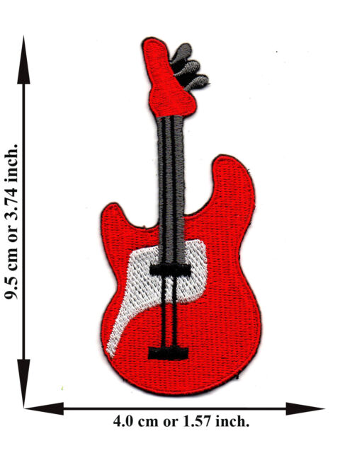 Red Guitar Music Rock Band Song Emo Punk V02 Logo Applique Iron on Patch Sew