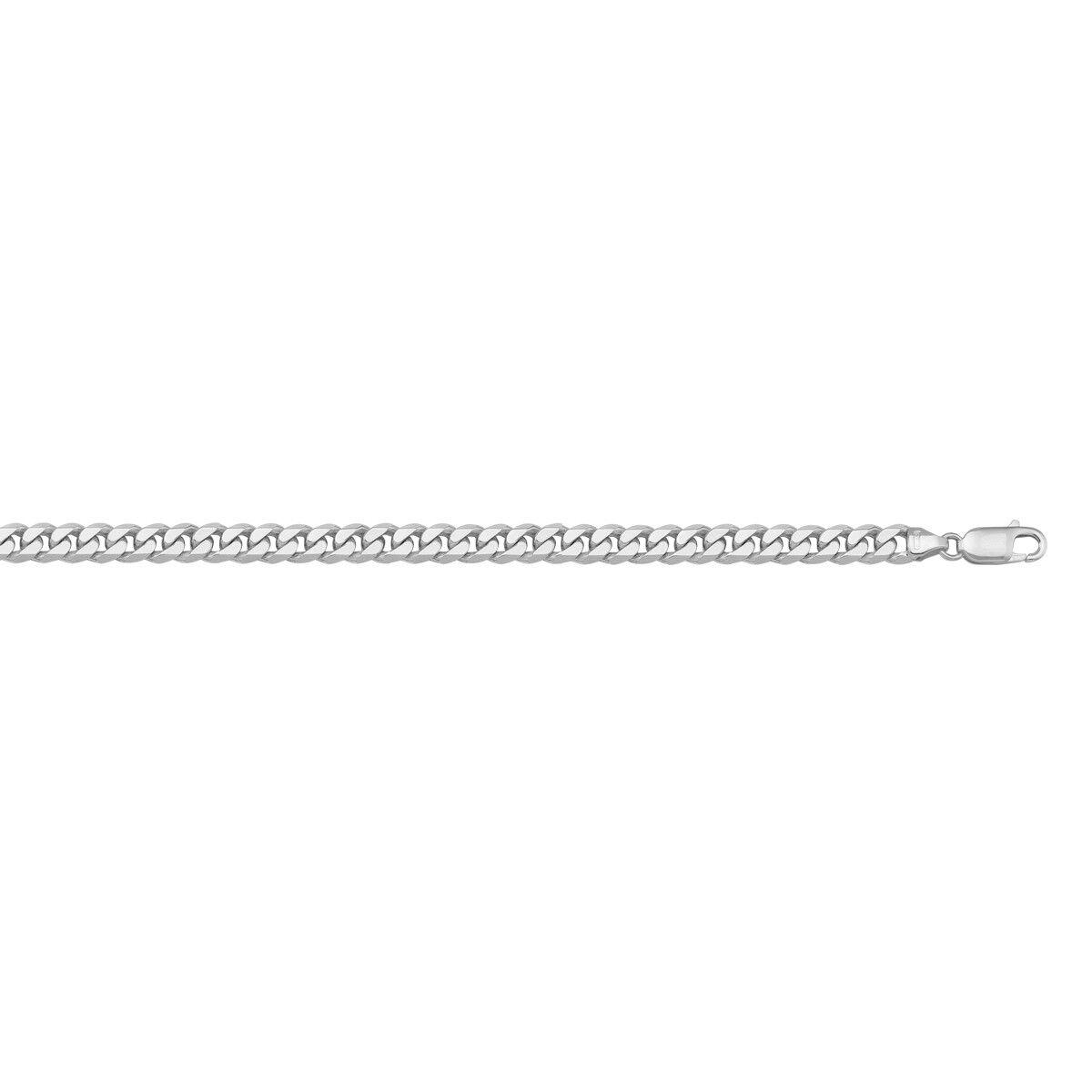 10 - 18K White gold Flat Beveled Link Chain, 3.3mm, Italian Made, NEW,