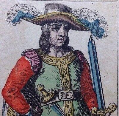1835 Knave of Swords Neo-Classical Tarot Playing Cards Italy Minor Arcana Single