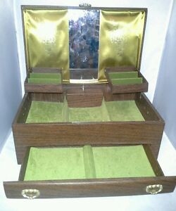 Lady Buxton Jewelry Box Music Faux Wood Mid Century Olive Green Vtg