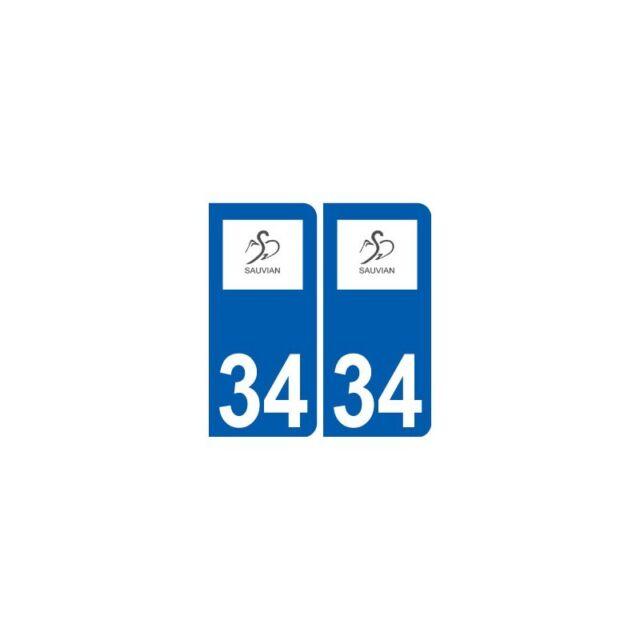 34 Sauvian logo ville autocollant plaque stickers droits