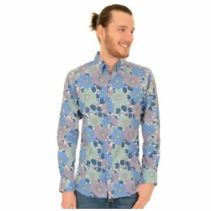 CréAtif 60 S Style Bleu Imprimé Floral Shirt De Run And Fly Rétro Mod 70 S Disco S/m/l/xl/xx-afficher Le Titre D'origine