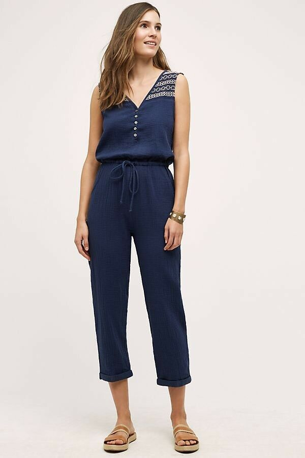 Anthropologie Navy bluee Embroidered Gauze Jumpsuit By Lilka Size Sz XL RSP  138
