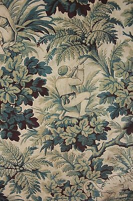 Antique printed blue faded cotton 19th century 1880 jungle tiger hunting pattern