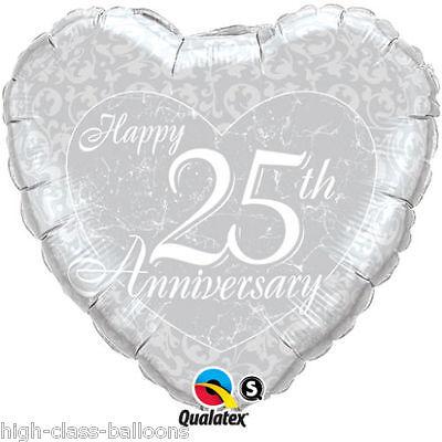 "18/""  BALLOON  HAPPY ANNIVERSARY SILVER 25TH HEART UK Seller"