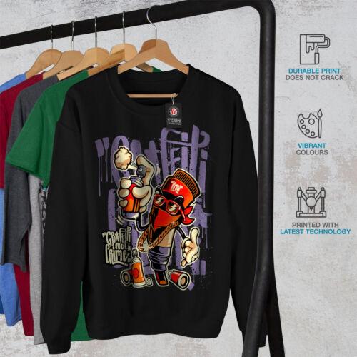 Sudadera Hombre Moda Nuevo Negro Crime Graffiti qHZ8wUWp7