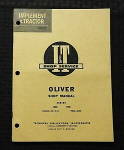 1962 OLIVER SERIES 1800 & 1900 TRACTOR I&T SERVICE REPAIR SHOP MANUAL