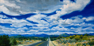 Enchanted-Highway-original-oil-painting-Southwest-landscape-with-Santa-Fe-clouds