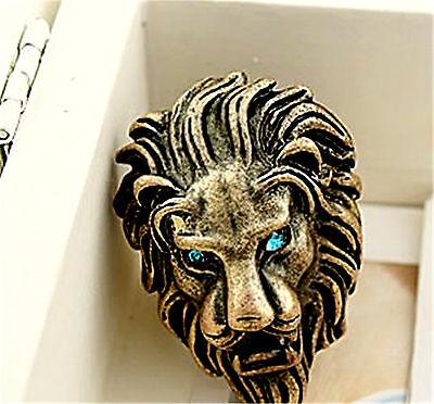 Vintage goth retro style bronze lion charm ring