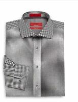 Men's Saks Fifth Avenue Red Dress Shirt Trim Fit Plaid Charcoal 14.5 To 17.5