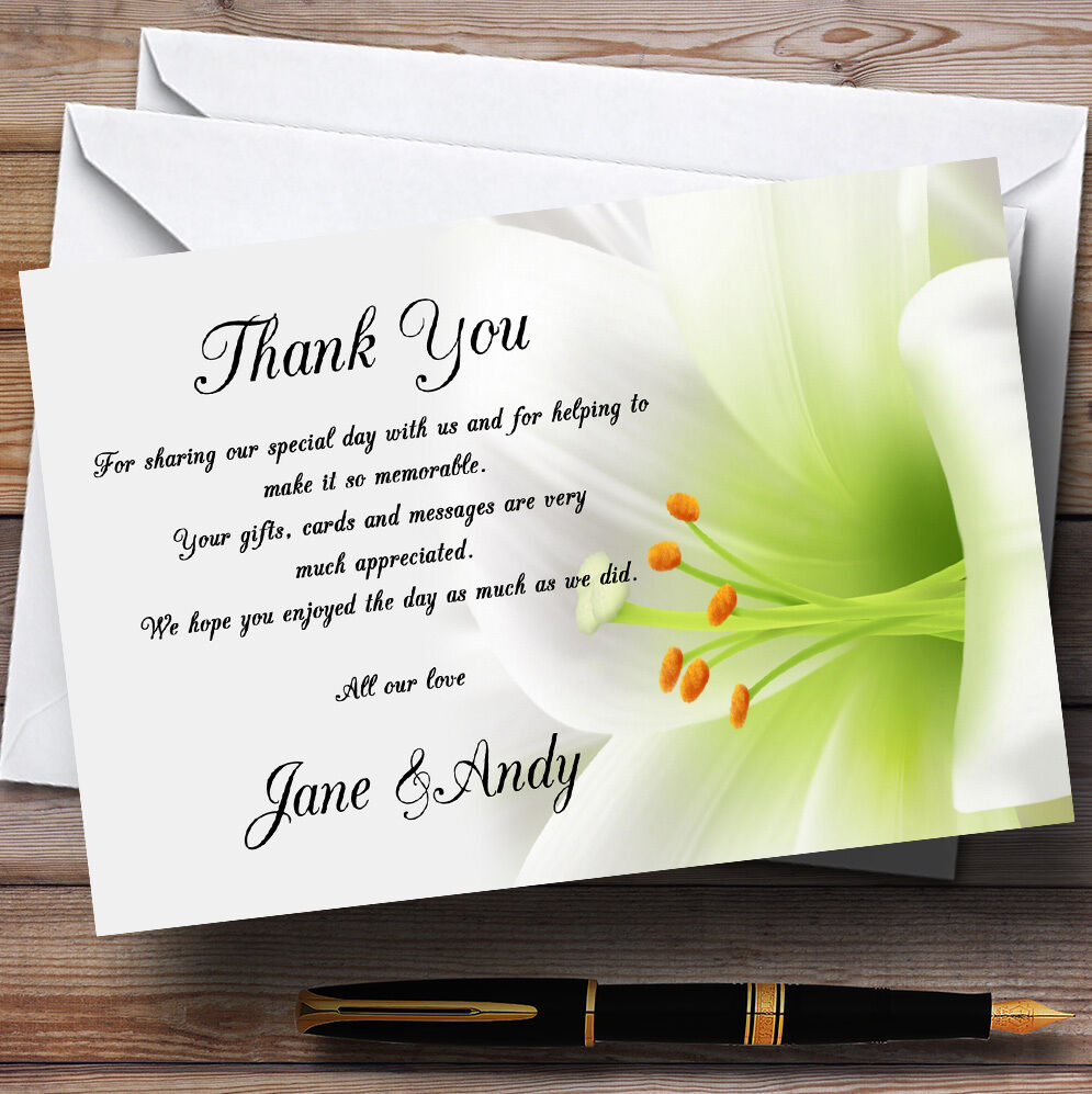 Subtle Weiss Lily Flower Personalised Wedding Thank You Cards B97ece