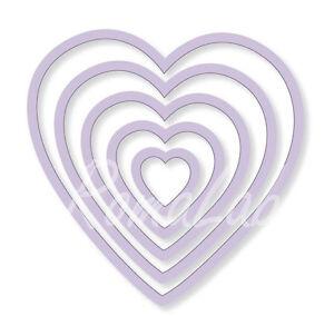 5 FUSTELLE a cuore SET compatibili con Big Shot cuori vari diametri Frame Heart