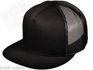 NEW  BLACK  TRUCKER CAP PLAIN MESH BASEBALL SNAPBACK FITTED FLAT ... e90d3614b3d