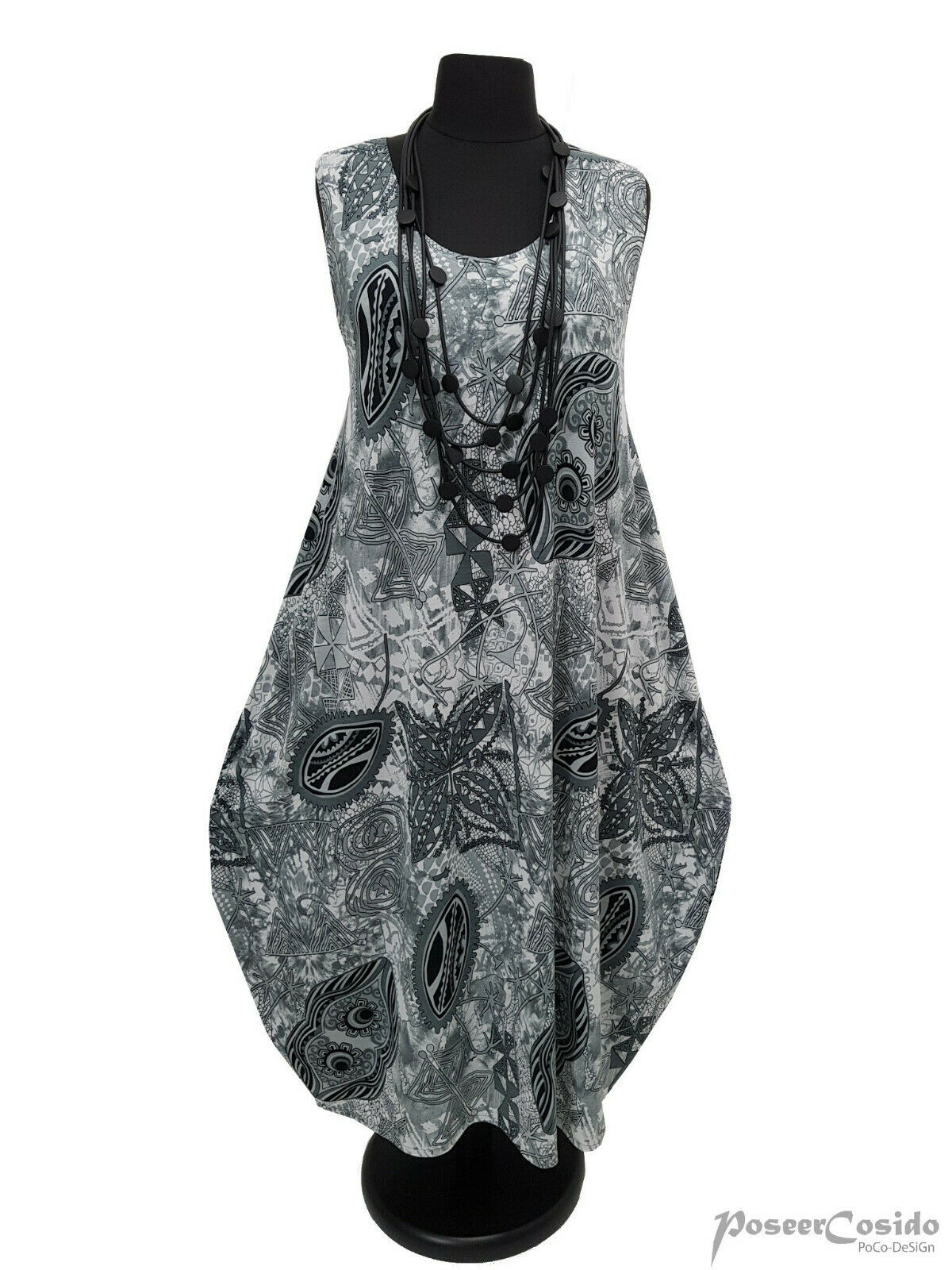 LAGENLOOK Ballon-Kleid grau weiß schwarz L-XL-XXL-XXXL 44 46 48 50 52 54 56 58