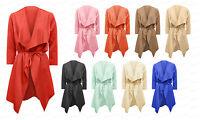 Womens Ladies NEW Belted Waterfall 3/4 Sleeve Belted Jacket Coat Blazer Top