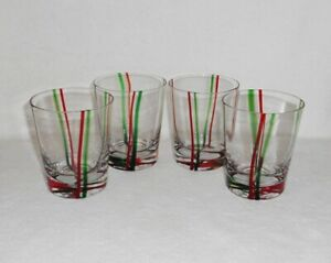 Block-YULETIDE-Old-Fashioned-Glasses-Tumblers-Christmas-Red-Green-Stripe-Set-4